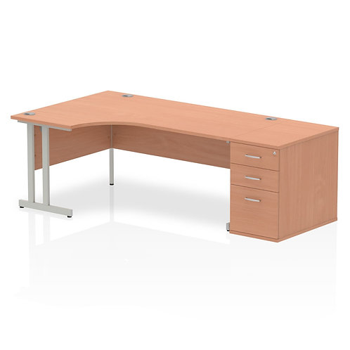 Impulse 1600mm Left Hand Crescent Desk Cantilever Leg Package Deal