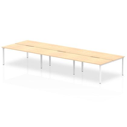 B2B White Frame Bench Desk 1600 Maple (6 Pod)