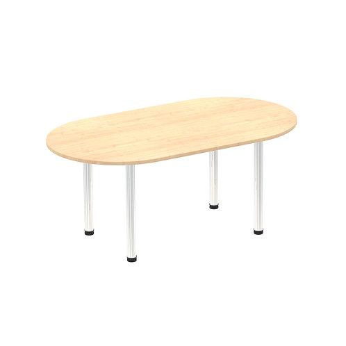 Impulse 1800 Boardroom Table Maple Chrome Post Leg
