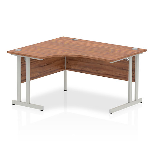 Impulse 1400 Left Hand Silver Crescent Cantilever Leg Desk Walnut