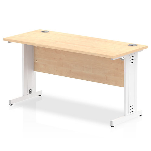 Impulse 1400/600 Rectangle White Cable Managed Leg Desk Maple
