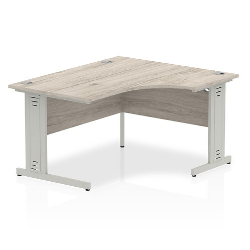 Impulse 1400 Right Hand Silver Crescent Cable Managed Leg Desk Grey Oak
