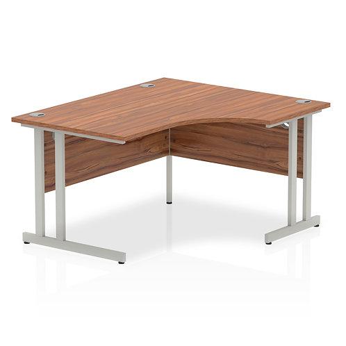 Impulse 1400 Right Hand Silver Crescent Cantilever Leg Desk Walnut