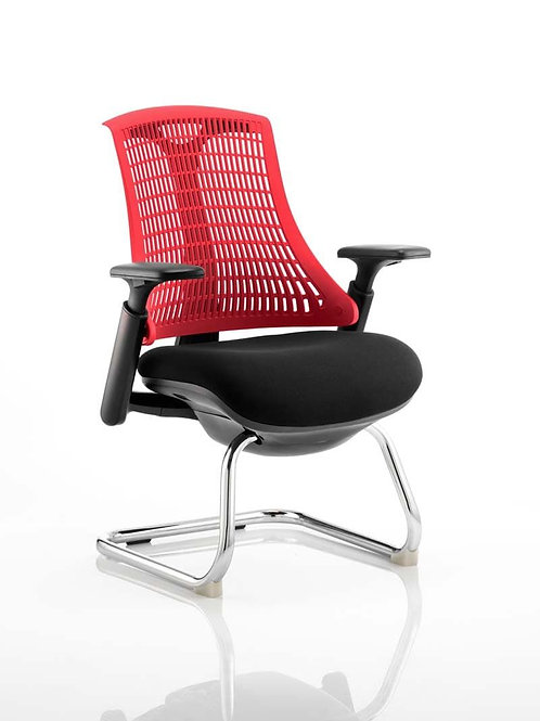 Flex Visitor Cantilever Chair Black Fabric Seat With Red Back