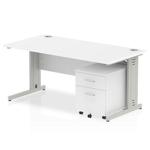 Impulse 1600 x 800mm Straight Desk White Top Pedestal Bundle