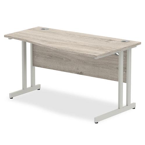Impulse 1400 Right Hand Silver Cantilever Leg Wave Desk Grey Oak