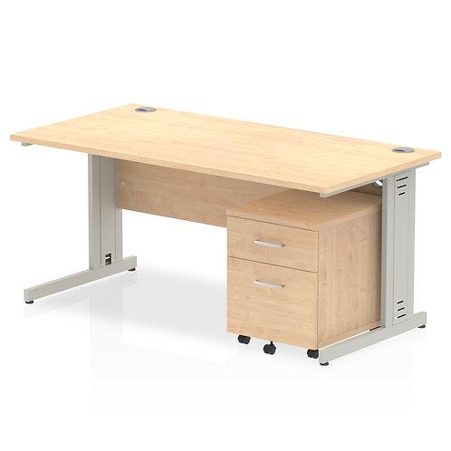Impulse 1600 x 800mm Straight Desk Maple Top Pedestal Bundle