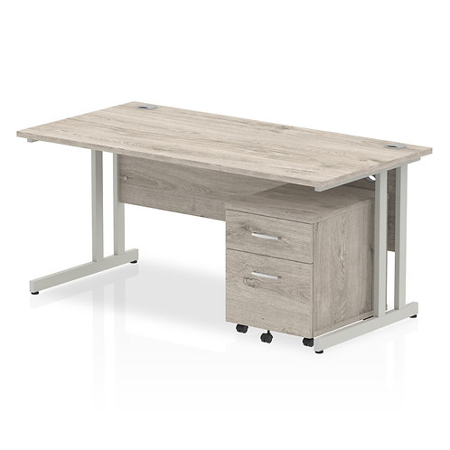 Impulse 1600 x 800mm Straight Desk Grey Oak Cantilever Leg with Pedestal Bundle