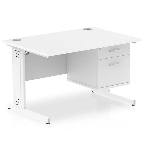 Impulse 1200 Rectangle White Cable Managed Leg Desk White 1 x 2 Drawer Fixed Ped