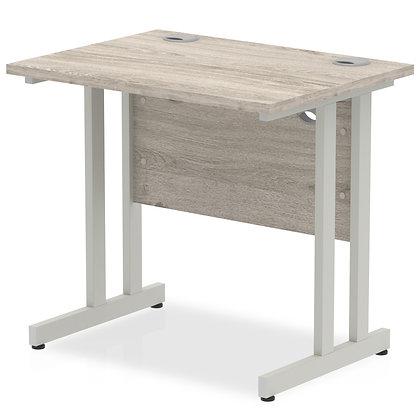 Impulse 1000/800 Rectangle Silver Cantilever Leg Desk Grey Oak