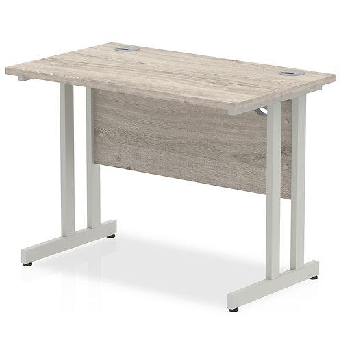 Impulse 1000/600 Rectangle Silver Cantilever Leg Desk Grey Oak
