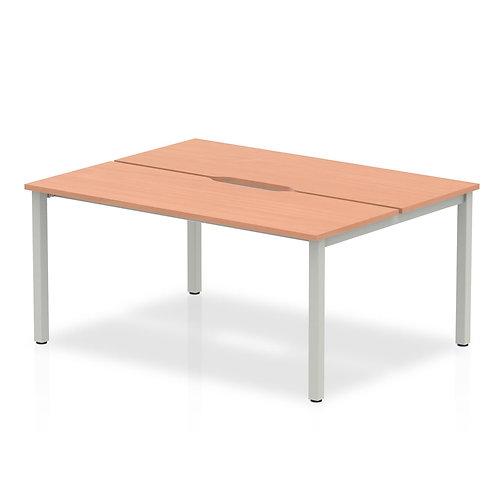 B2B Silver Frame Bench Desk 1400 Beech (2 Pod)