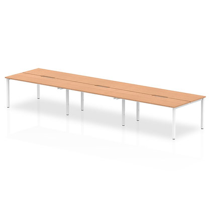 B2B White Frame Bench Desk 1400 Oak (6 Pod)