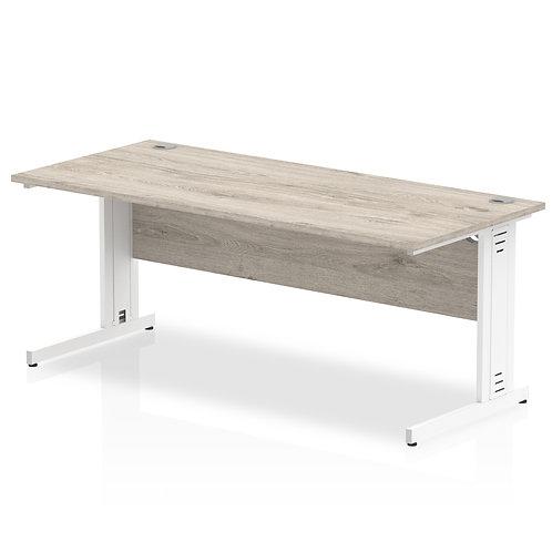 Impulse 1800/800 Rectangle White Cable Managed Leg Desk Grey Oak
