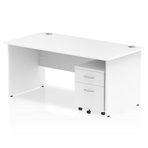 Impulse 1600 x 800mm Straight Desk White Top Panel End Leg Pedestal Bundle