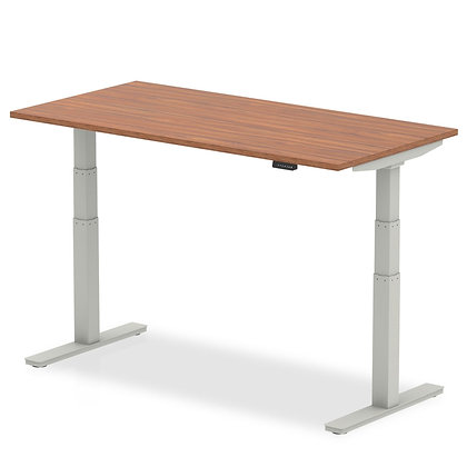 Air Walnut Height Adjustable Desk With Silver Legs