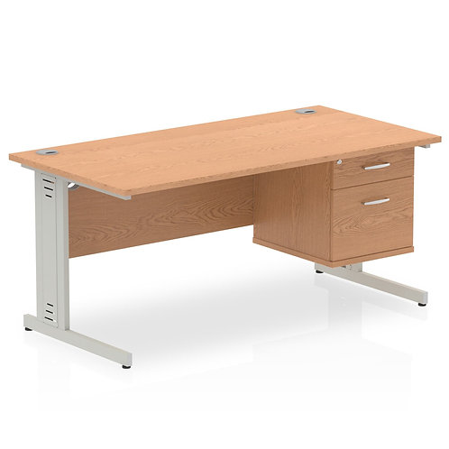 Impulse 1600 Rectangle Silver Cable Managed Leg Desk Oak 1 x 2 Drawer Fixed Ped