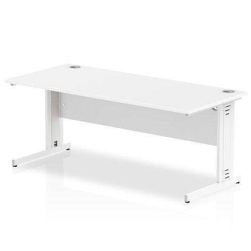 Impulse 1800/800 Rectangle White Cable Managed Leg Desk White