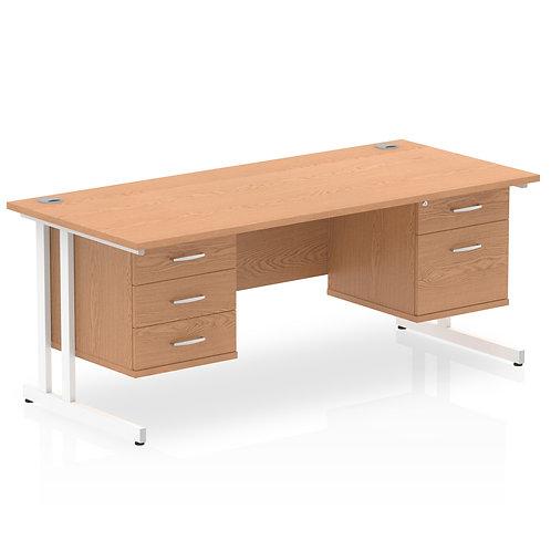Impulse 1600 Rectangle Desk Oak 1 x 2 Drawer 1 x 3 Drawer Fixed Ped