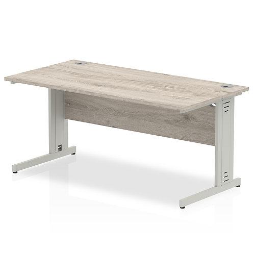 Impulse 1600/800 Rectangle Silver Cable Managed Leg Desk Grey Oak