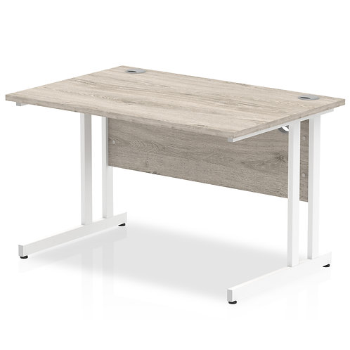 Impulse 1200/800 Rectangle White Cantilever Leg Desk Grey Oak