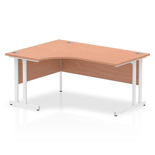 Impulse 1600 Left Hand White Crescent Cantilever Leg Desk Beech