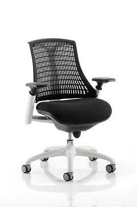 Flex Task Operator Chair White Frame Black Fabric Seat With Black Back With Arms