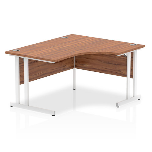 Impulse 1400 Right Hand White Crescent Cantilever Leg Desk Walnut