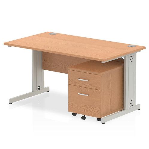 Impulse 1400 x 800mm Straight Desk Oak Top Pedestal Bundle