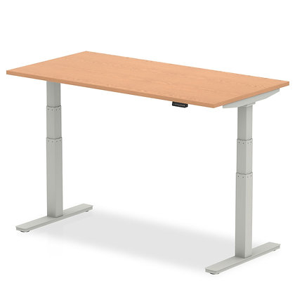 Air Oak Height Adjustable Desk With Silver Legs