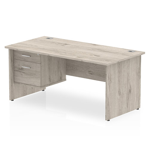 Impulse 1600 Rectangle Panel End Leg Desk Grey Oak 1 x 2 Drawer Fixed Ped