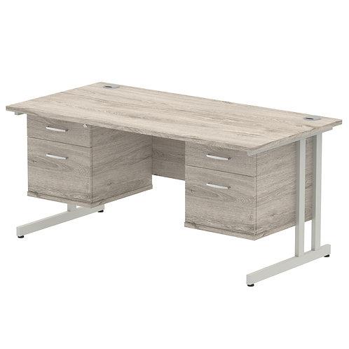 Impulse 1600 Rectangle Silver Cant Leg Desk Grey Oak 2 x 2 Drawer Fixed Ped