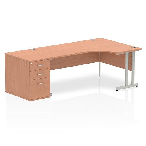 Impulse 1600mm Right Hand Crescent Desk Cantilever Leg Package Deal