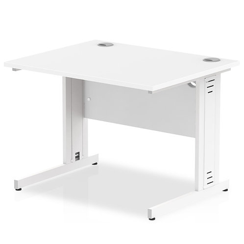 Impulse 1000/800 Rectangle White Cable Managed Leg Desk White