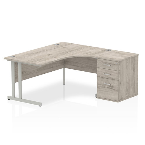 Impulse 1600mm Right Hand Crescent Desk Grey Oak Cantilever Leg Bundle
