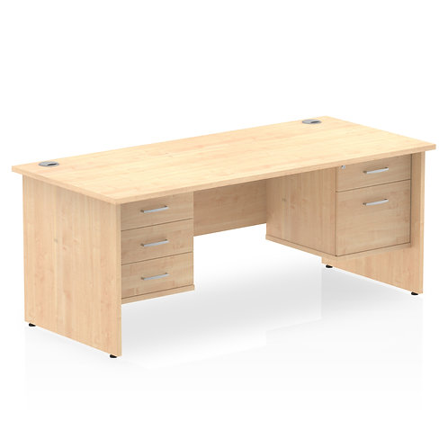 Impulse 1600 Rectangle Desk Maple 1 x 2 Drawer 1 x 3 Drawer Fixed Ped
