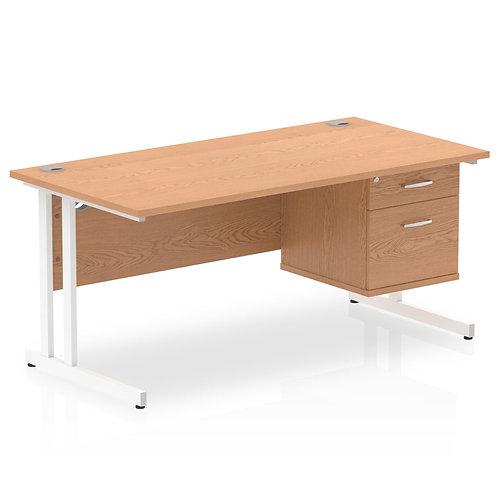 Impulse 1600 Rectangle White Cant Leg Desk Oak 1 x 2 Drawer Fixed Ped