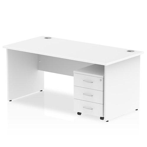 Impulse 1200 x 800mm Straight Desk Oak Top Panel End Leg Pedestal Bundle