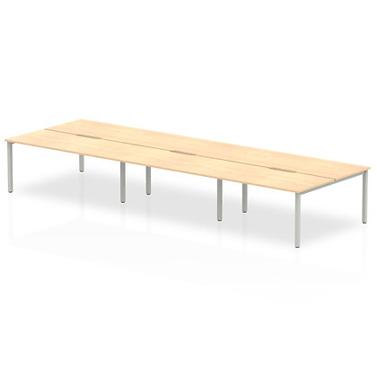 B2B Silver Frame Bench Desk 1600 Maple (6 Pod)