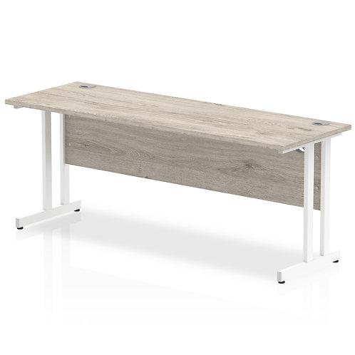 Impulse 1800/600 Rectangle White Cantilever Leg Desk Grey Oak