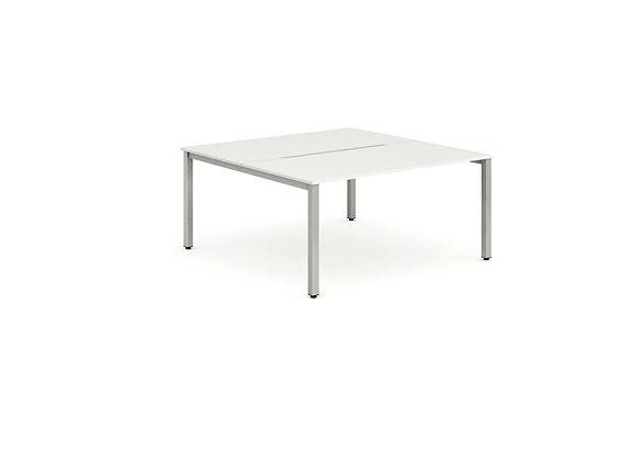 B2B Silver Frame Bench Desk 1200 White (2 Pod)