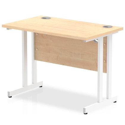 Impulse 1000/600 Rectangle White Cantilever Leg Desk Maple