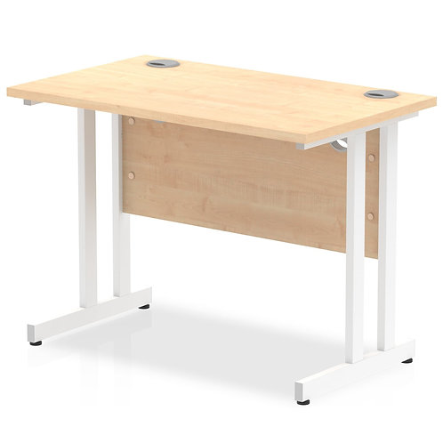 Impulse 1000/600 Rectangle White Cantilever Leg Desk Maple