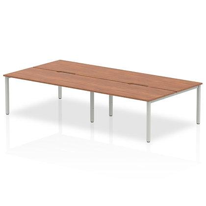 B2B Silver Frame Bench Desk 1600 Walnut (4 Pod)