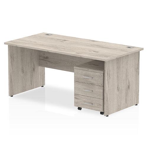 Impulse 1600 x 800mm Straight Desk Grey Oak End Leg with Pedestal Bundle