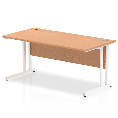 Impulse 1600/800 Rectangle White Cantilever Leg Desk Oak