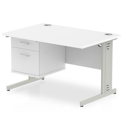 Impulse 1200 Rectangle Desk White 1 x 2 Drawer Fixed Ped