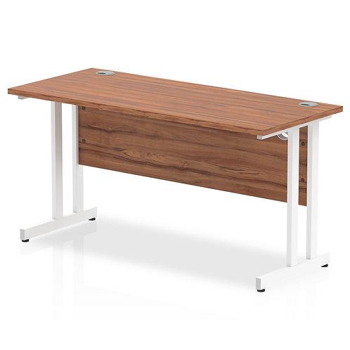 Impulse 1400/600 Rectangle White Cantilever Leg Desk Walnut