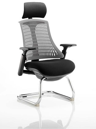 Flex Visitor Cantilever Chair Black Fabric Seat With Grey Back With Headrest
