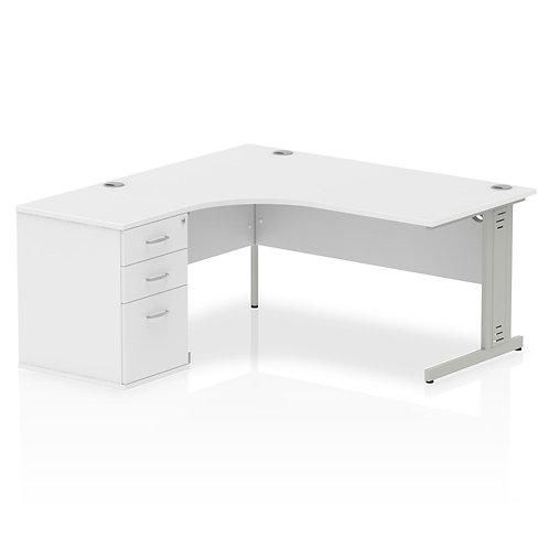 Impulse 1600mm Left Hand Crescent Desk Cable Managed Leg Package Deal